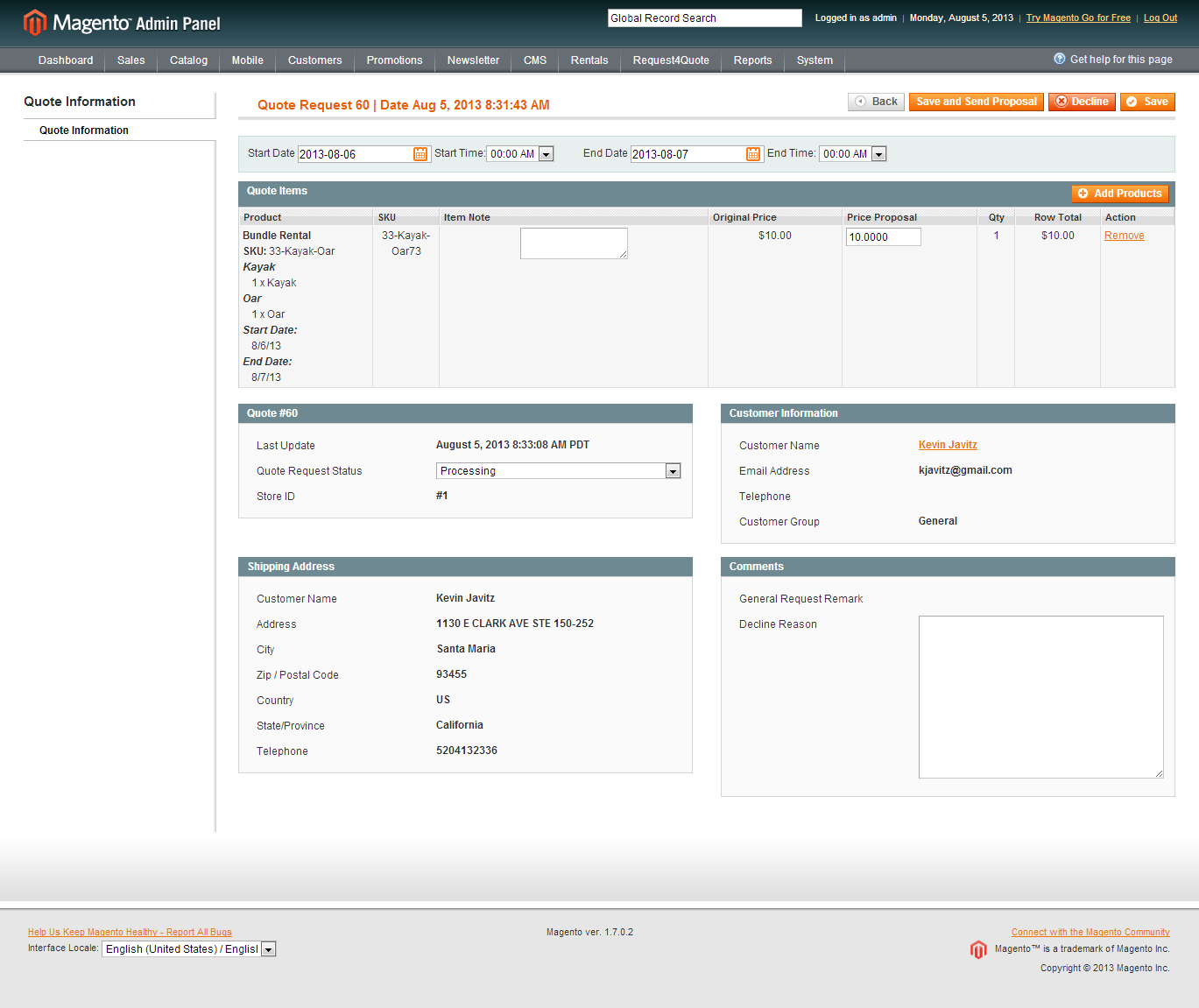 Magento Request For Quote Module Extension Rental