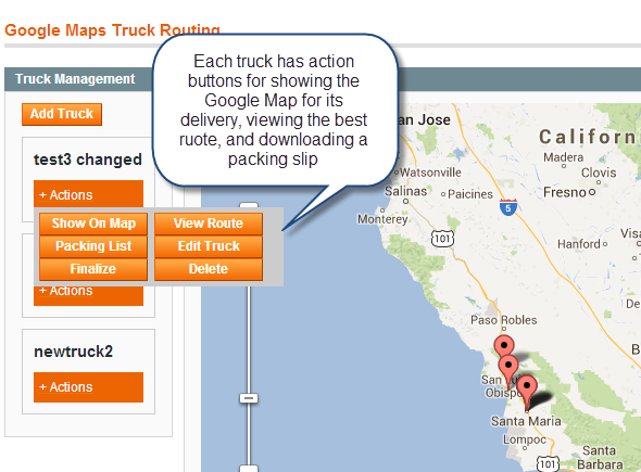 truck actions view route packing list map etc