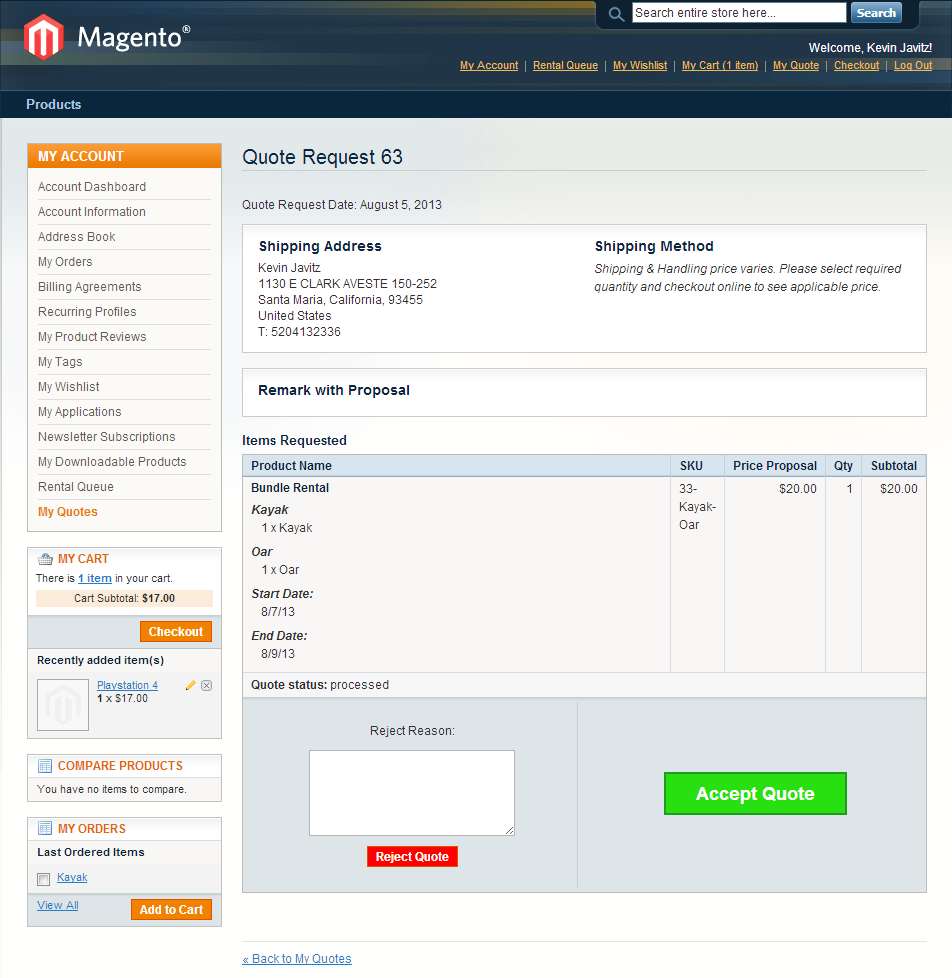Magento Request For Quote Extension Module With Pdf Generation