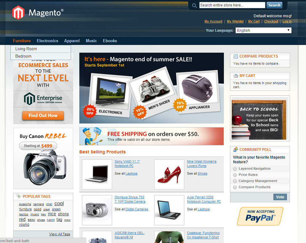 Magento Basic Theme With Products