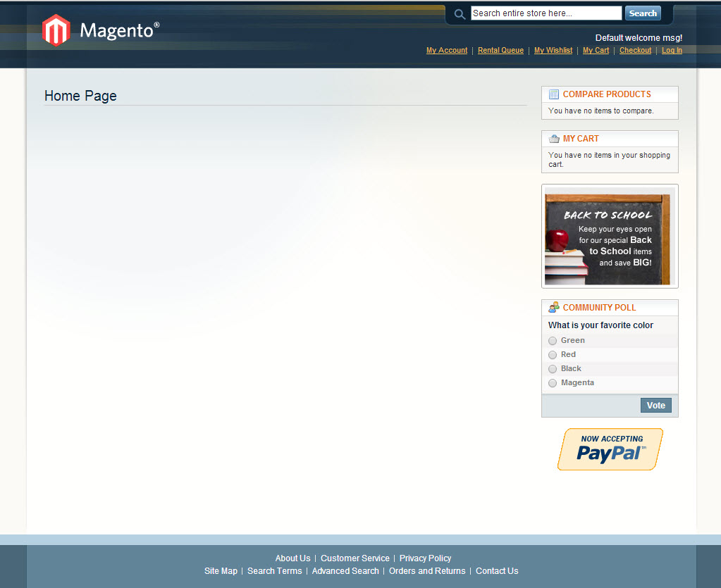 Magento Basic Theme Rental System